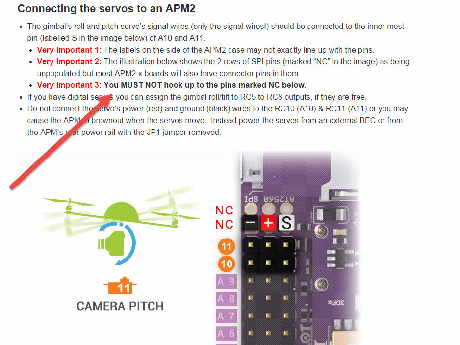 Be careful when connecting your gimbal to your APM not to connect it to the NC pins